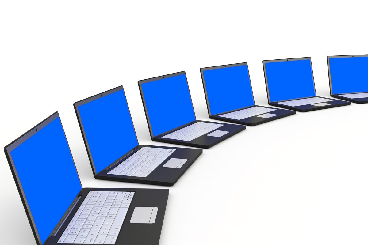 Laptops with blue screen on white background. 3D illustration.